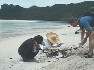 Collecting plastic resin pellets on Malaysian beach